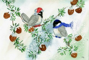 "Christmas/Hanukkah combined greeting card. 4 1/2"" x 6"", with envelope. Greeting"" ""Happy Hanukkamas."" From original my watercolor painting ""Holiday Chickadees."" Cards are $3.50 each or five for $15.00. May be ordered by e-mail to dsabinartist@gmail.com or purchased at For Art's Sake, Main Street, Malone, NY 12953."